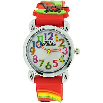 Relda Childrens Girl's 3D Zoo Animals Red Silicone Strap Watch REL106
