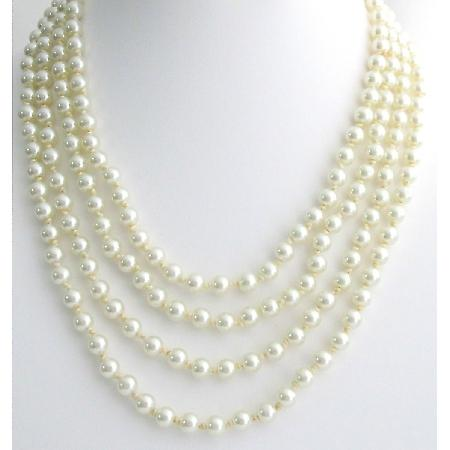 Ivory Pearl 100 Inches Long Statement Necklace Hand Knotted Pearl