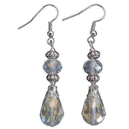 Teardrop Earrings AB Crystal Glass Bead Holiday Gift Fun Earrings
