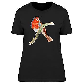Roter Robin Vogel Schnabel offen Tee Frauen-Bild von Shutterstock