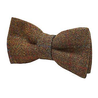 Harris Tweed Mens Rust Windowpane Check Tweed Bow Tie 100% Wool Pre-Tied