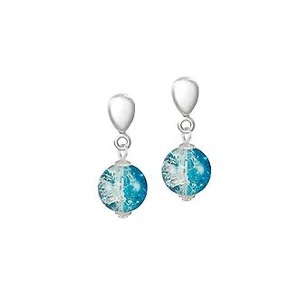 Eternal Collection Carnival Turquoise Czech Glass Crackle Bead Silver Tone Drop Clip On Earrings