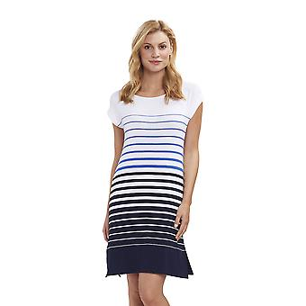 Feraud 3191370-11698 Women's Casual Chic White Blue Stripe Night Gown Loungewear Nightdress