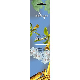 20 Sticks Incense In Flat Pouch Pack Room Fragrance Aroma Pack of 6 Premier (09100221)