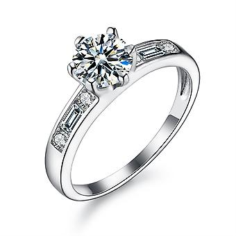 925 Sterling Silver Round And Baguette Accent Engagement Ring