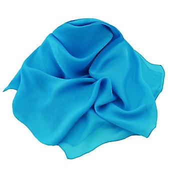 Eternal Collection Plain Turquoise Oblong Pure Silk Chiffon Scarf
