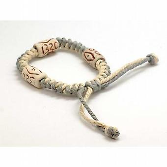 The Olivia Collection Tribal Grey & Cream Cotton  Wooden Bead Bracelet