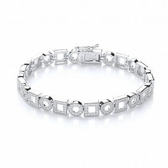Cavendish French Art Deco Style Silver and Cubic Zirconia Bracelet