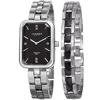 Akribos XXIV Women's Quartz Diamond Watch and Bracelet Set AK995SSB