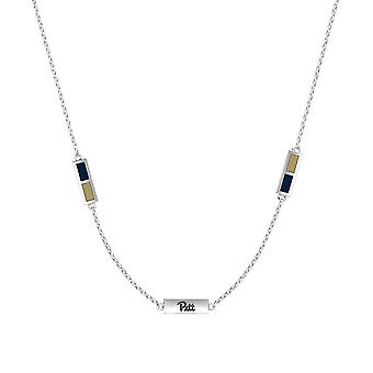 University Of Pittsburgh - Pitt Engraved Triple Station Necklace In Dark Blue And Tan
