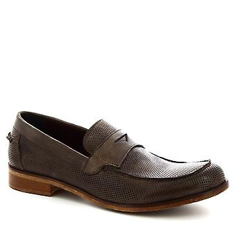 Leonardo Shoes Men's handmade slip-on loafers shoes in ash gray calf leather