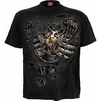 Spiraal-stoom punk geript-mens t-shirt