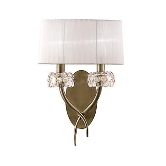 Mantra M4634AB/S Loewe Wall Lamp Switched 2 Light E14, Antique Brass With White Shade