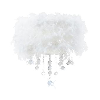 Diyas Ibis Ceiling With White Feather Shade 3 Light Polished Chrome/Crystal