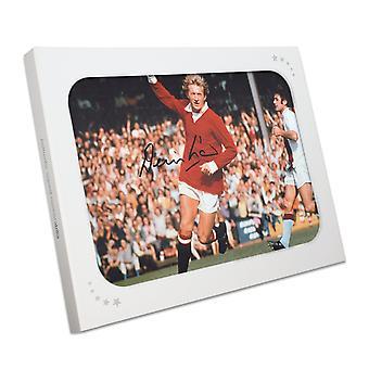 Denis Law signé Manchester United photographie dans une boîte cadeau
