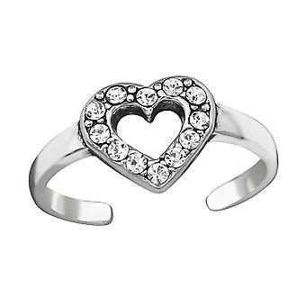 Heart - 925 Sterling Silver Toe Rings - W38441X