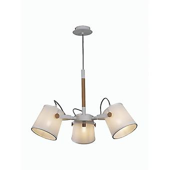Mantra Nordica II Position Pendant 3 Light 3x23W E27, White/Beech With White Shades