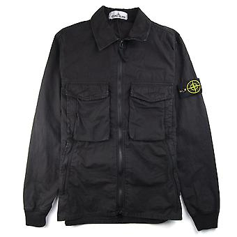 Stone Island Cotton Overshirt Twin Pocket Black