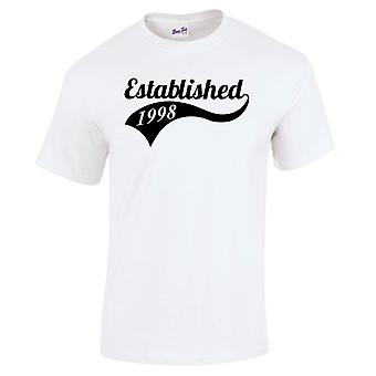 Men's 21st Birthday T-Shirt Established 1998 Gifts For Him