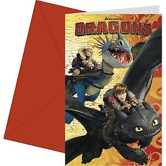 Dragons party invitation cards Dragon party Viking party kids birthday 6 pieces