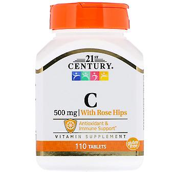 21st century vitamin c, 500 mg, with rose hips, tablets, 110 ea