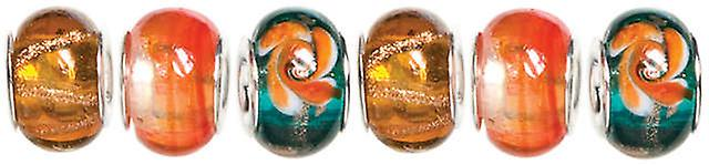 Trinkettes Glass & Metal & Clay Beads 6 Pkg Orange & Teal Swirl T346gmb6 99050