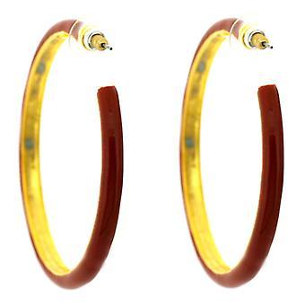 Kenneth Jay Lane Large Gold & Red Enamel Hoop Earrings
