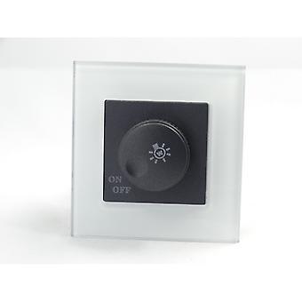 I LumoS AS Luxury White Crystal Glass Single Frame 1 Gang Rotary Dimmer Light Switch