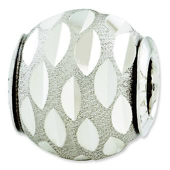 Sterling Silver Polished Antique finish Reflections Velvet Sparkle-Cut Bead Charm