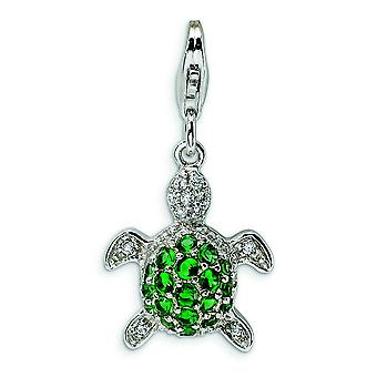 Sterling Silver Cut-out Polished Rhodium-plated Fancy Lobster Closure Green and Clear Cubic Zirconia Turtle With Lobster