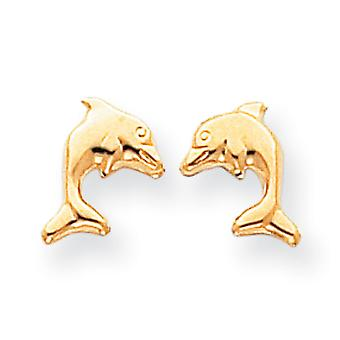 14k Yellow Gold Dolphin Earrings - .3 Grams - Measures 10x9mm