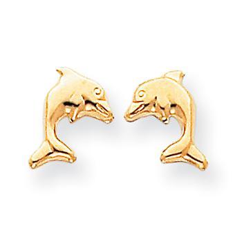 14k Gelbgold poliert Post Ohrringe Delfin Ohrringe -.3 g - Maßnahmen 10x9mm