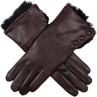 Dents Sophie Fur Cuff Hairsheep Leather Gloves - Mocca Brown