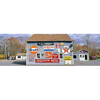 Love Barn with road signs Orland Maine Poster Print