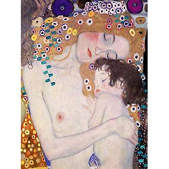 Le Tre eta della donna Poster trykk av Gustav Klimt