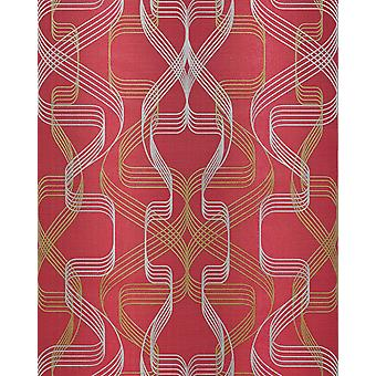 Graphic wallpaper EDEM 507-24 designer wallpaper textured with abstract pattern and metallic accents Ruby Red perl-gold silver 5.33 m2