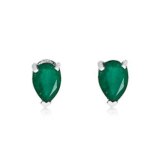 14k White Gold Emerald Pear-Shaped Earring