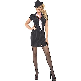 Gangster Lady costume black pinstriped dress and scarf size M