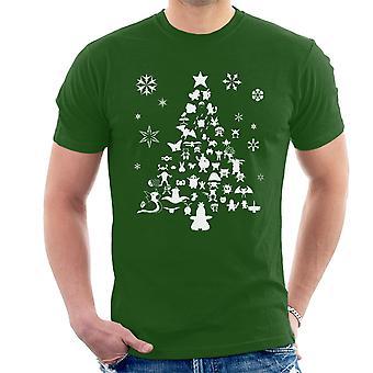 Pokemon juletræ silhuet hvide mænd T-Shirt