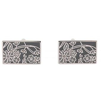 David Van Hagen Floral Cufflinks - Grey