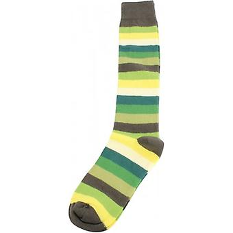 MySocks Multi Stripe Knee High Socks - Green/Dark Green/Yellow