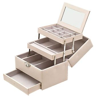 Jewellery case beige jewelry box jewelry box with mirror handle and automatic