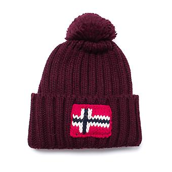 Napapijri Semiury Bordeaux Wool Knit Bobble Beanie
