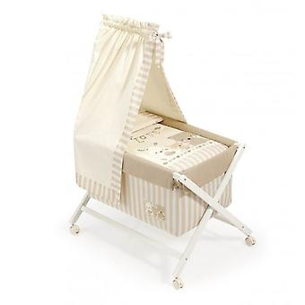 Interbaby Minicuna Square with textile Pasword White and Beige