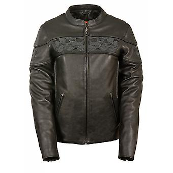 Womens Leather Crossover Scooter Jacket Reflective Skulls