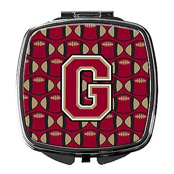 Letter G Football Garnet and Gold Compact Mirror