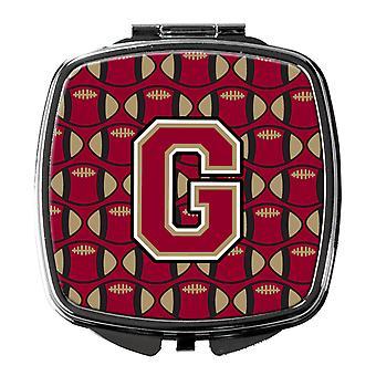 Lettre G Football grenat et or miroir Compact