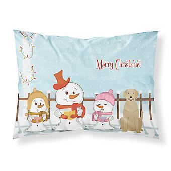 Wesołych Świąt kolędników Yellow Labrador tkanina standardowa Poszewka na poduszkę