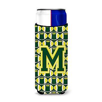 Litera M piłki nożnej zielony i żółty Ultra Izolatory napojów dla slim puszki