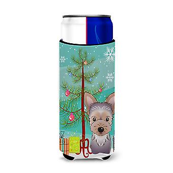 Christmas Tree and Yorkie Puppy Ultra Beverage Insulators for slim cans